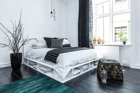 Neat modern bedroom interior with grey and white decor and a stylish bed with storage space below on a wooden floor lit by a large bright window. 3d rendering. Stock Photo