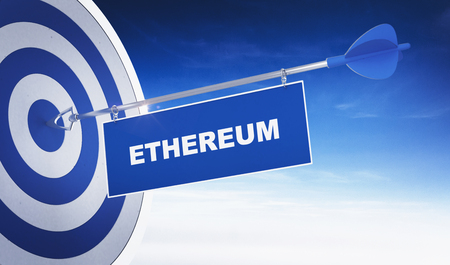 Ethereum cryptocurrency concept with blue and white target with an arrow or dart with a banner in the bulls eye depicting successful investing Stock Photo