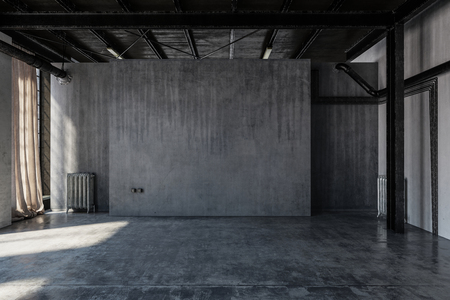 An empty, abandoned industrial concrete warehouse room with draped curtains.