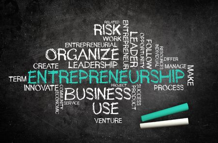 Entrepreneurship concept with a business word cloud covering leadership, innovation and risk surrounding the central handwritten chalk word on a blackboard