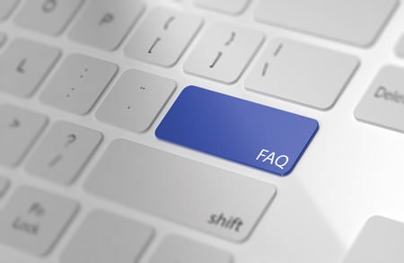 Blue FAQ button on keyboard. Soft focus. 3d Rendering Фото со стока