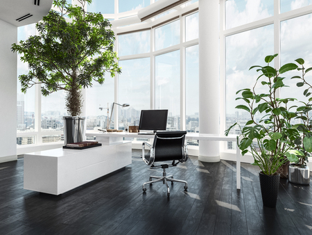 Modern luxury office interior in a pent house with curved white walls and windows overlooking a city and large green potted plants. 3d Rendering. Stock Photo