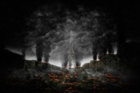Apocalyptic scene of destruction around the Eiffel Tower, Paris, with explosion debris and plumes of dense black smoke conceptual of terrorism 스톡 콘텐츠