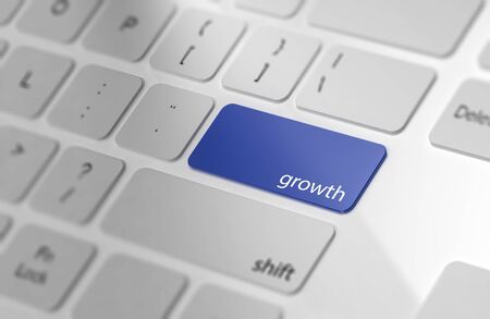 Growth - Button on Computer Keyboard. 3d Rendering.