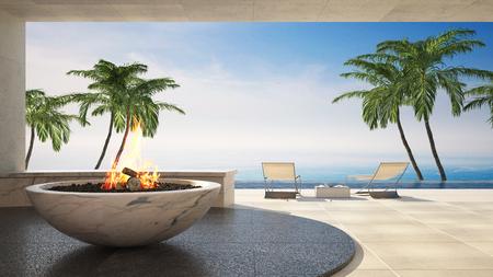 Funktion des brennenden Feuers in einer Schüssel auf einer tropischen Luxusplattform mit den Palmen, die den Ozean übersehen. 3D-Rendering