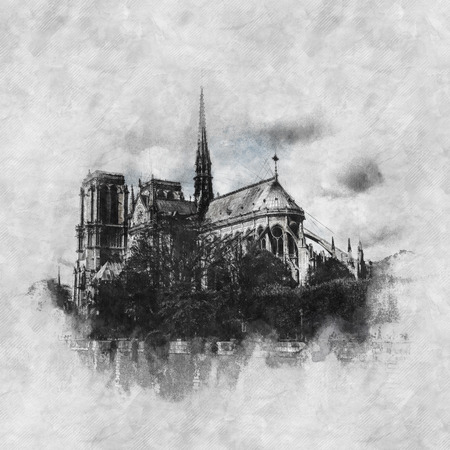 Hand drawn monochrome ink sketch of Notre Dame Cathedral, Paris on grey mottled textured paper in square format