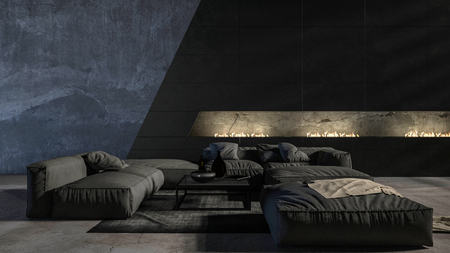 Dark modern luxury monochromatic grey living room interior with marble floor lit by soft up-lights illuminating comfortable sofas and an ottoman. 3d rendering