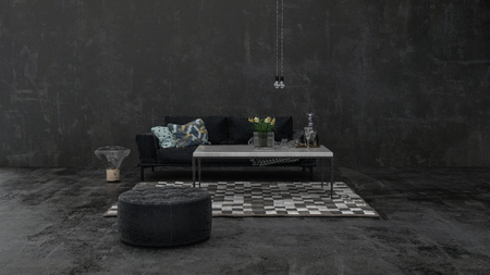 Simple minimalist dark grey monochrome living room interior decor with a single ottoman and sofa on a small carpet in a wide angle view. 3d render illustration