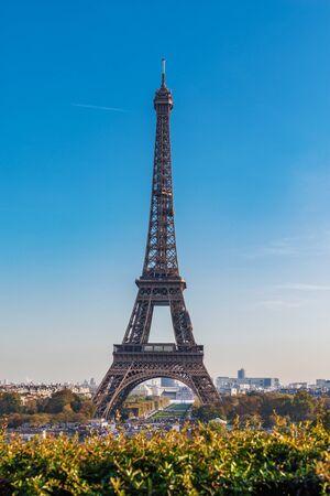 Eiffel Tower against clear blue sky on sunny day, Paris, France