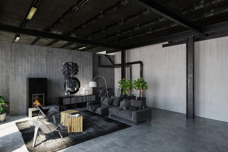 Trendy monochrome grey loft living room in an industrial conversion with grunge concrete walls and exposed structural elements. 3d rendering Banco de Imagens