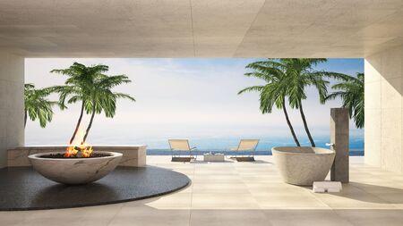 Freiluftterrasse in einer luxuriösen tropischen Villa mit Blick auf das Meer, Palmen und brennender Flamme. 3D-Rendering