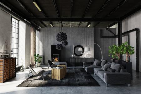 Salon moderne et tendance dans une conversion de loft industriel avec un décor gris et un salon et des éléments structurels exposés éclairés par de grandes fenêtres. Rendu 3D