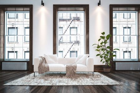 Elegant minimalist apartment living room interior with large windows and a single white couch with cushions and throw rugs on a small carpet over a wood floor. 3d rendering
