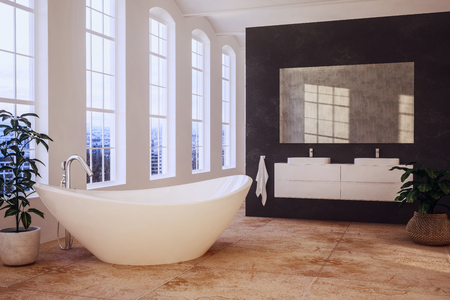 Elegant loft bathroom with tall windows overlooking a contemporary boat shaped bathtub and double vanities on a black divider wall with mirror. 3d rendering