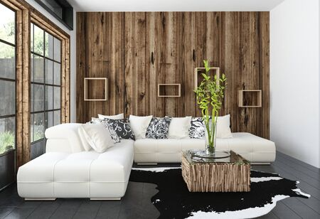 Modern cosy rustic living room with wood cladding on the wall and window frames and a large comfortable cream colored corner sofa in front of view windows. 3d rendering