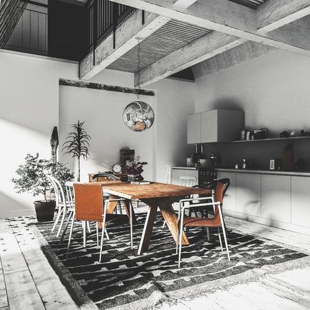 Moderna e lussuosa zona pranzo con cucina a pianta aperta con armadi ed elettrodomestici incorporati in un decoro grigio monocromatico con tavolo e sedie in legno. Rendering 3d Archivio Fotografico - 98929944