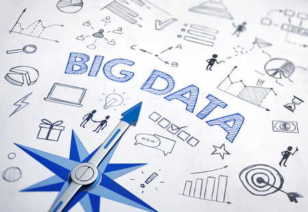 Big Data concept with blue compass. 3d Rendering Stock Photo