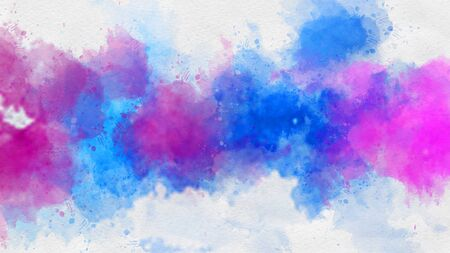 Vivid pink and blue watercolor paint template. Stock Photo