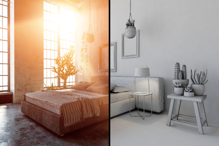 Bedroom interior concept with black and white effect to the side of borderline and warm sunlight through huge windows Stock Photo