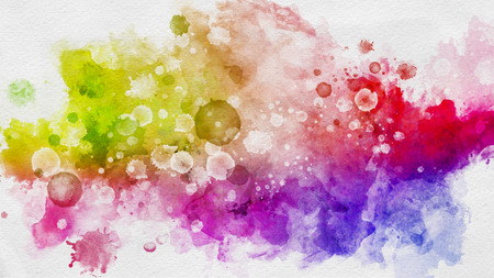 Colorful abstract wallpaper concept with vivid watercolor splashes of red, blue and yellow, on white background
