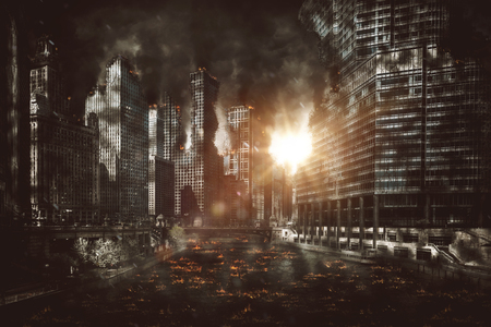 Fiery explosion between city skyscrapers at night with smoke pouring from buildings and burning debris littering the street Banque d'images