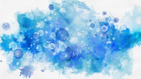 Abstract background concept of blue and purple splashes in watercolor style on white background