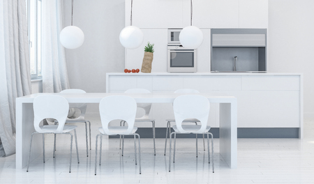 Modern dining room with white plastic chairs under white table and kitchen containing sink and appliances in background