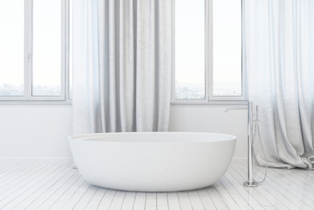 3d white mockup of a stylish modern bathroom interior with elegant freestanding bathtub and flowing fabric drapes on tall windows over a hardwood floor