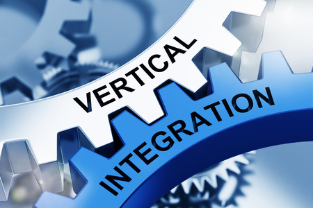 VERTICAL INTEGRATION on Metal Cog Gears. Communication Concept. 3d Rendering