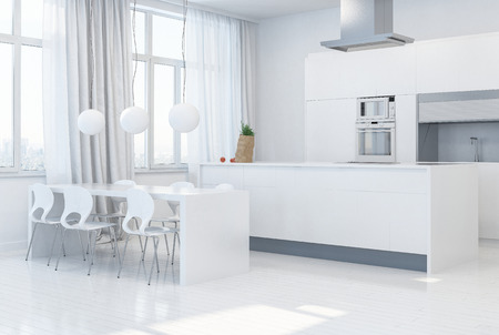 Designer model of a trendy white monochrome kitchen with fitted cabinets and appliances opening onto a spacious airy dining area with table and chairs lit by tall windows with drapes. 3d render