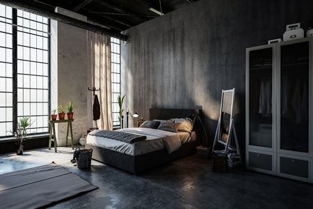 Gloomy modern spacious attic bedroom interior in a converted industrial space with double, bed, plants, mirror and wardrobe in front of long floor to ceiling windows, 3d rendering