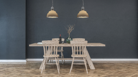Empty kitchen scene with wooden table and four chairs on hardwood herringbone style floor. 3d Rendering