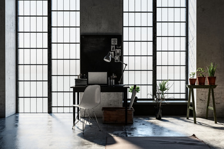 Small desk or writing table between long windows letting in sunlight in a modern attic conversion study or den with houseplants. 3d rendering Stock Photo