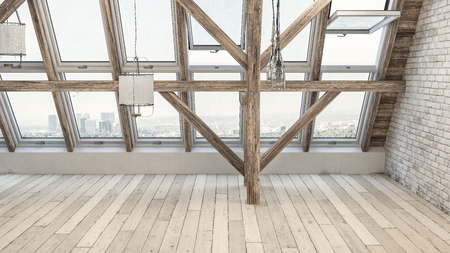 Empty rehabilitated attic with large windows facing urban background. Empty hardwood floor in foreground. Stock Photo