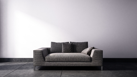 Front view on single neutral tone two seat sofa with square pillows in front of gray background. 3d Rendering