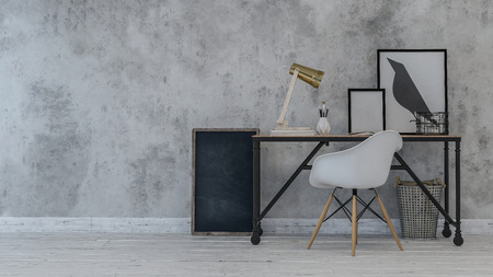 Desk and chair with blank and crow paintings on wall. Includes copy space on background. 3d Rendering
