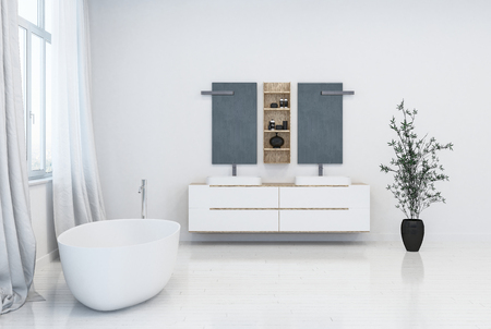 Fresh clean white modern bathroom interior with stylish freestanding bathtub and double wall mounted vanities with cabinets lit by daylight from tall side windows. 3d render