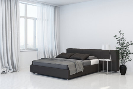 Stylish spacious monochromatic grey and white bedroom interior with double divan style bed with headboard in front of tall windows with drapes over a wooden floor with houseplant. 3D Rendering.