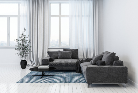 Modern white living room containing two gray sofas on top of carpet and black plant pot near windows. 3D Rendering.
