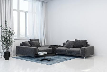 Interno monocromatico del soggiorno grigio e bianco con divani ad angolo davanti ad alte finestre con tende accanto a una pianta verde a foglia in vaso. Rendering 3D.
