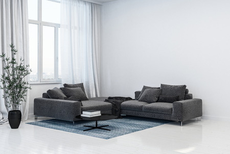 Monochromatic grey and white living room interior with corner sofas in front of tall windows with curtains alongside a potted leafy green plant. 3D Rendering.