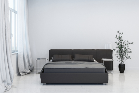 Contemporary white walled bedroom with black bed next to window with curtains and pot with green plant. 3D Rendering. Stock Photo