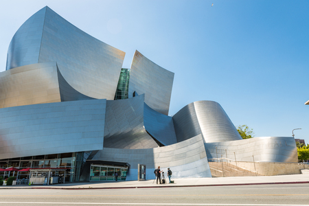 LOS ANGELES, USA - May 16 2018: Low-angle view of Walt Disney Concert Hall against clear blue sky for copy space, famous landmark from LA, California, USA