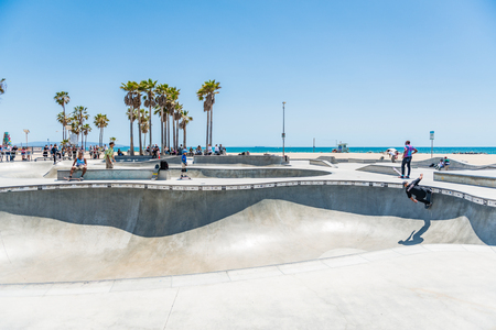 LOS ANGELES, USA - May 15 2018: Beachfront sport facility and skate park, Venice Beach, Santa Monica, Los Angeles, California overlooking the ocean on a hot sunny summer day