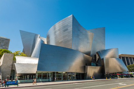 LOS ANGELES, USA - May 16 2018: Walt Disney Concert Hall against clear blue sky, famous tourist attraction from Los Angeles, California, USA