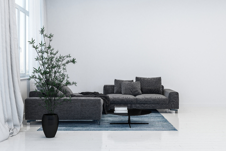 Black couch with cushions and black plant pot on top of rug next to window with curtains in glossy contemporary white room. 3d Rendering 版權商用圖片