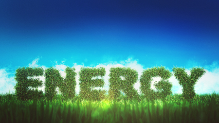 Green energy concept sign made of greenery on fresh grass field against blue sky, viewed from low angle. Concept of modern eco-friendly technologies use and clear atmosphere. 3d Rendering. Banque d'images - 109822171