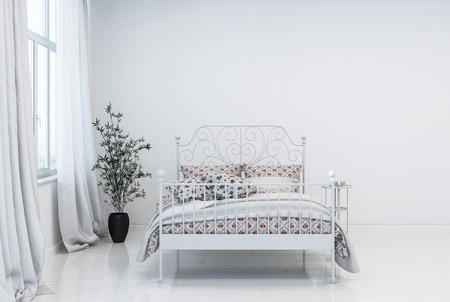 Trendy modern minimalist white bedroom interior with double bed with metal frame in front of a window with long drapes and potted plant. 3d rendering