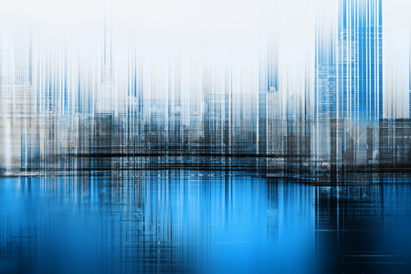 Abstract concept of city skyline. Blue blurred lines. Stock Photo