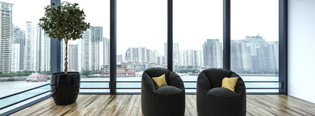 Side view of two small cushioned chairs next to tiny tree in reflective black pot with large windows revealing cityscape in background. 3d rendering Stock Photo